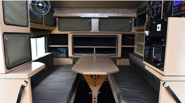 Interior boat cabin with Caframo fan mounted